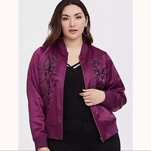 TORRID Purple Satin Embroidered Bomber Jacket